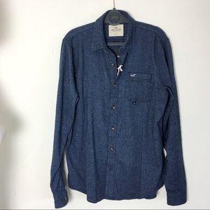 Hollister Men's Blue Epic Flex Button Down Shirt